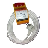 Сетевой шнур LUX V3ПВС 3*0,75 5м с вилкой с з/к белый