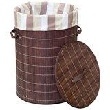 Корзина для белья BLB-01-D, бамбук, цвет: тёмный, размер:34,5*50см, 312116, Китай