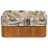 Корзинка бамбуковая с покрытием из натурального льна BLB-09-1, р-р 38*28*16, Китай