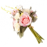 Цветок декоративный Розовая коллекция, букет в форме розы, пластик, полиэстр,22см,5цв,1507-8 501-420