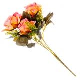 Цветок декоративный Розовая коллекция, букет, пластик, полиэстр, 25см, 4цв, 1507-14 501-426