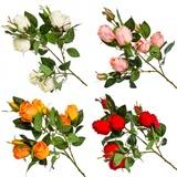 Цветок декоративный Розовая коллекция, ветка в форме розы, пластик, полиэстр,67см,4цв,1507-5 501-417