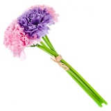 Цветок декоративный, букет в форме гвоздик, пластик, полиэстр,23см,3цвета, арт 1507-9 501-421