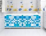 Экран для ванны, прямоугольный, 148*56, голубой кафель, Ультра, Россия