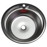 Мойка FABIA врезная БЕЗ СИФОНА круглая 510 мм толщ.0,6мм глубина 160мм 5106D